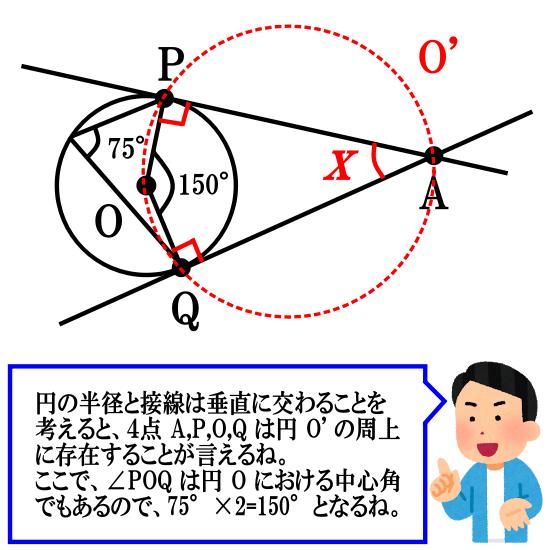 円周角の定理の逆を用いる円の接線の問題その1解答