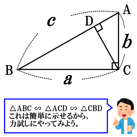 相似を用いた証明【三平方の定理】