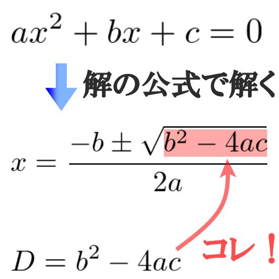 判別式Dとは一体何か【解の公式の√部分です】