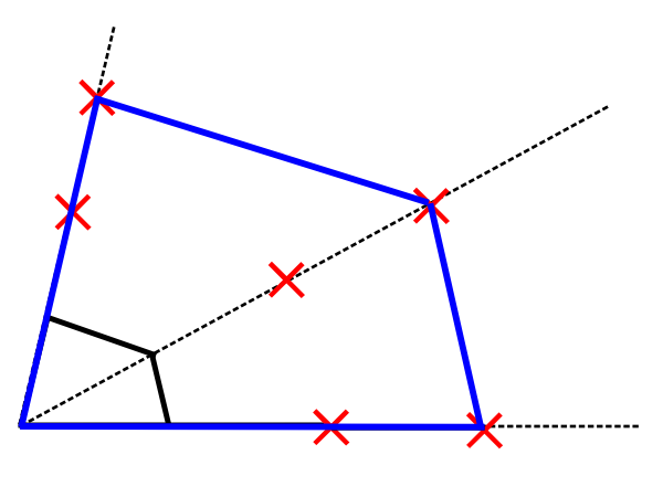 四角形の拡大図の作図~問題の解答例【赤がコンパス、青が答え】